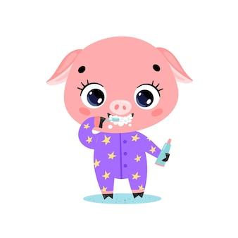 Flache doodle niedlichen cartoon baby schwein zähneputzen. tiere putzen ihre zähne.