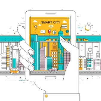 Flache dünne linie designillustration der intelligenten stadt eine hand, die mobiltelefon hält
