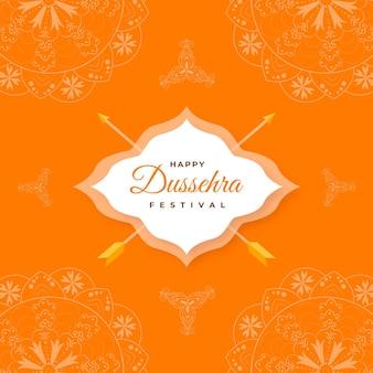 Flache dussehra-begrüßung mit traditionellen elementen