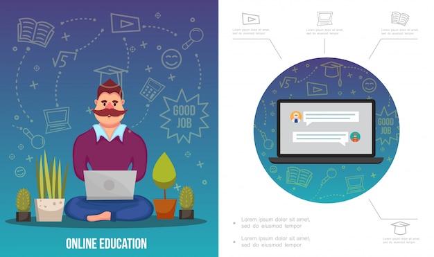 Flache e-learning-infografik-vorlage mit mann, der an laptop-pflanzen-notizbuch und verschiedenen online-bildungsikonen arbeitet