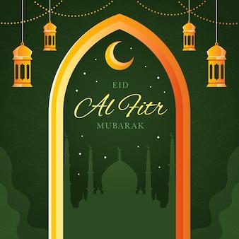 Flache eid al-fitr - eid mubarak illustration