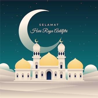 Flache eid al-fitr - hari raya aidilfitri illustration