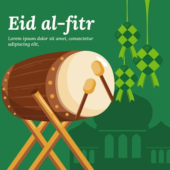 Flache eid al-fitr illustration