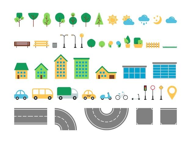 Flache einfache stadt städtische elemente vektorsatz. park und straße im freien dekor konstrukteur sammlung. baum, wetter, straße, haus, transport, straßenschild isoliert für web-symbole, mobile app, infografiken.