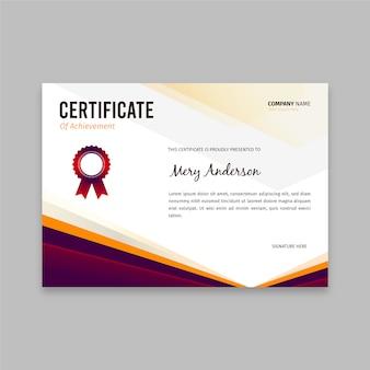 Flache elegante zertifikatvorlage