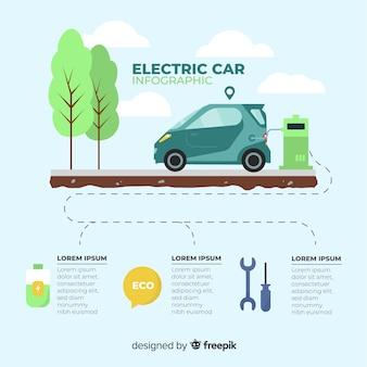 Flache elektroauto-infografiken