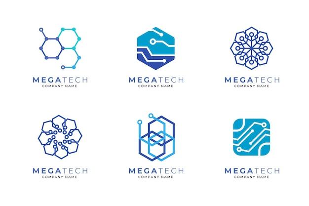 Flache elektronik-logo-sammlung