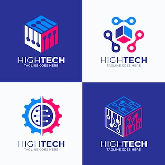 Flache elektronik-logo-vorlagen