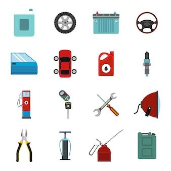 Flache elemente der autoservice-wartung eingestellt