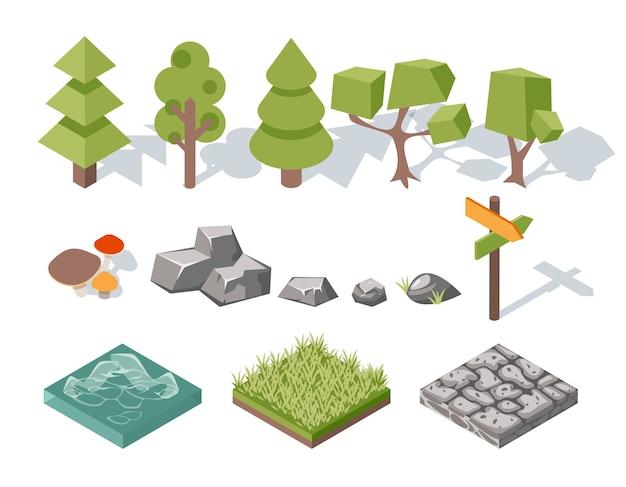 Flache elemente der natur. bäume und büsche, felsen und wasser, gras und pilze, landschaftsgestaltung. vektorillustration