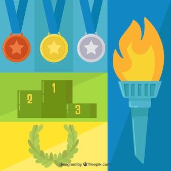Flache elemente der olympischen spiele