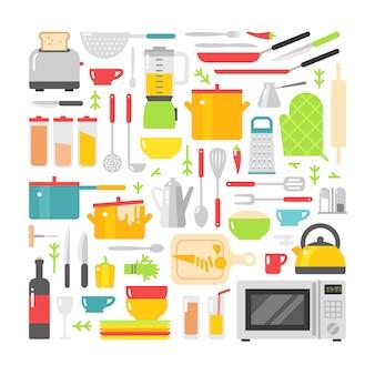 Flache elemente des küchenteller-vektors lokalisiert