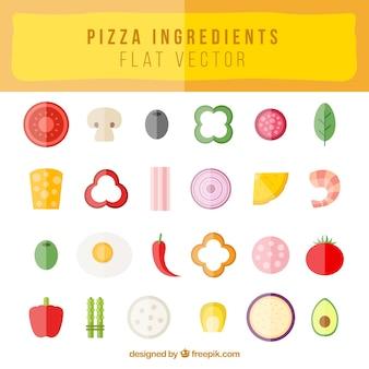 Flache elemente für die pizza