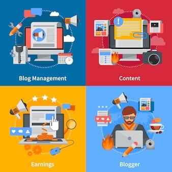 Flache elemente und zeichensatz des blogging mit bloggerblog-managementinhalt und -ohrringen auf bunten hintergründen lokalisierten vektorillustration