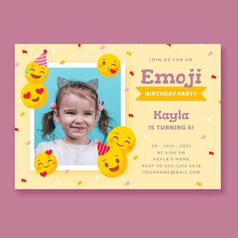Flache emoji-geburtstagseinladung mit foto