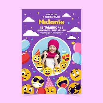 Flache emoji-geburtstagseinladungsschablone mit foto