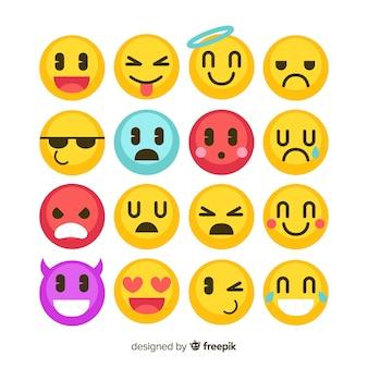 Flache emoticon-reaktion-sammlung