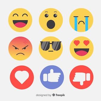 Flache emoticon-reaktionssammlung