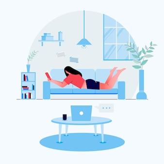 Flache entspannungs- und freizeitschablone mit jungen niedlichen mädchen, die bücher zu hause illustration lesen