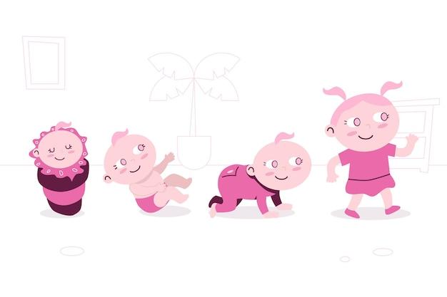 Flache entwurfsstufen einer babymädchenpackung