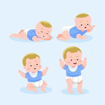 Flache entwurfsstufen eines baby-satzes
