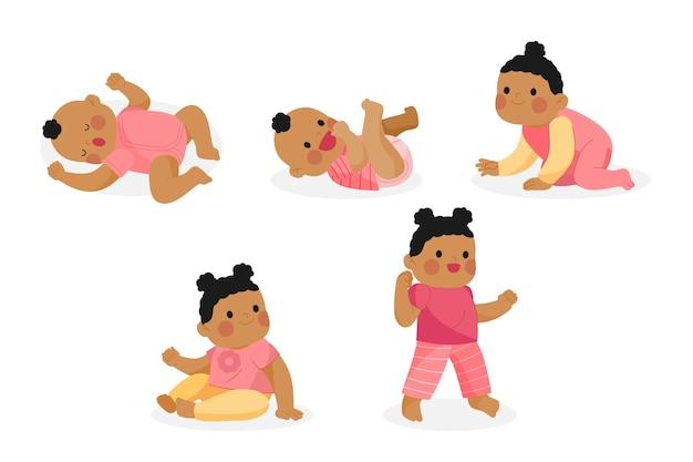 Flache entwurfsstufen eines babymädchensatzes