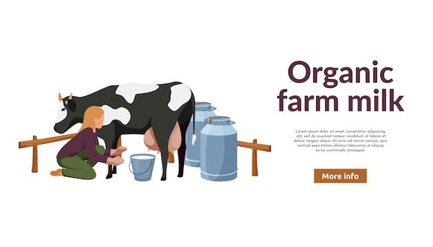 Flache fahne des biobauernhofes mit frau, die kuh melkt