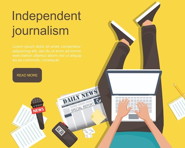 Flache fahne des unabhängigen journalismus