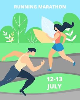 Flache fahne, die marathon-beschriftungs-karikatur laufen lässt