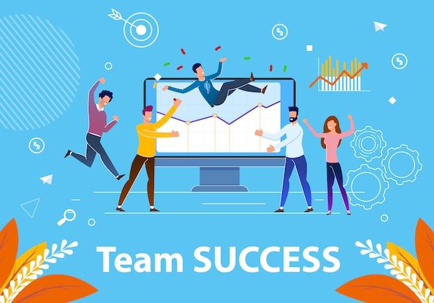 Flache fahne team success illustration.