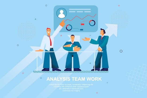 Flache fahnen-analyse team work vector illustration
