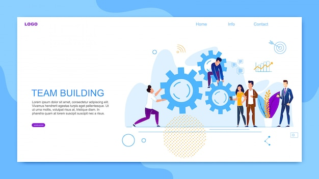 Flache fahnen-aufschrift team building cartoon