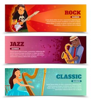 Flache fahnen der musikleistungsfähigkeit eingestellt