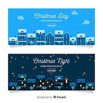 Flache fahnen mit weihnachtsstadt
