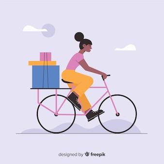 Flache fahrradlieferung mit pakethintergrund