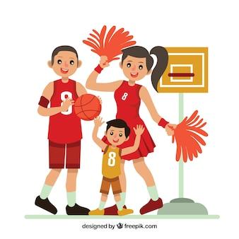 Flache familie, die basketball spielt