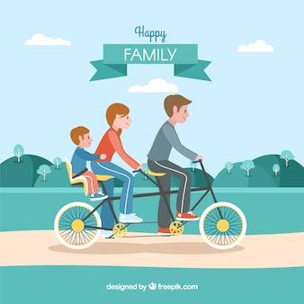 Flache familie, die im park radfährt