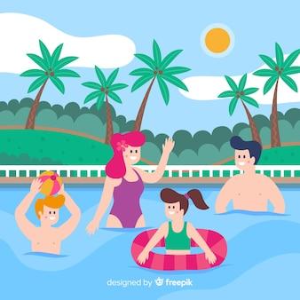 Flache familie, die sommerferien genießt