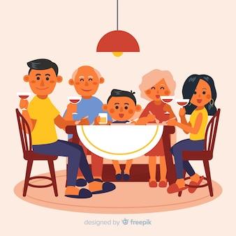 Flache familie, die um tabellenillustration sitzt