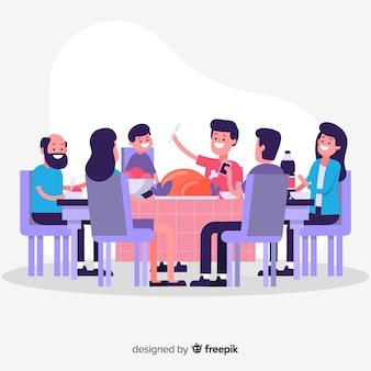Flache familie, die zusammen isst