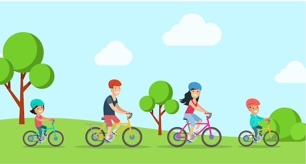 Flache familie mit kindern, die fahrrad an der parkwaldvektorcharakterillustration reiten
