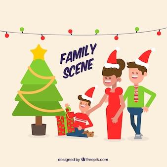 Flache familienszene mit einem weihnachtsbaum