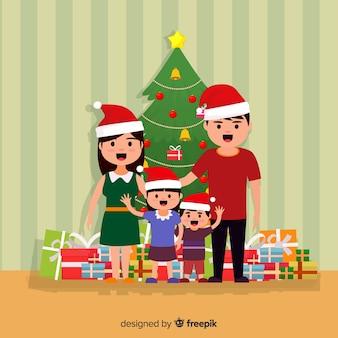 Flache familienweihnachtsszene