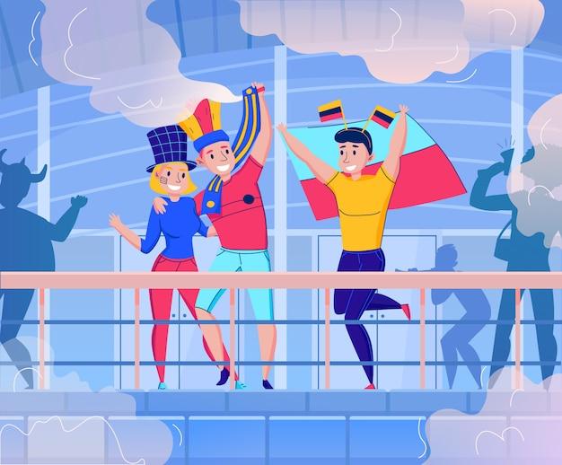 Flache fans, die teamzusammensetzung mit dem tanzen zujubeln und illustration mit drei leuten des spaßes haben