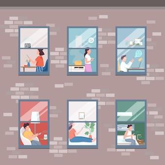 Flache farbabbildung der modernen wohnungsböden