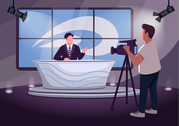 Flache farbabbildung der nachrichtenproduktion. professionelle 2d-zeichentrickfiguren von anchorman und kameramann mit studio auf hintergrund.