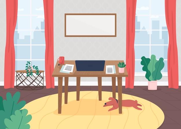 Flache farbabbildung des freiberuflers am arbeitsplatz. tisch mit laptop für schriftstellerarbeit. neuartiger arbeitsplatz. schreibtisch mit computer. home office 2d-cartoon-innenraum mit großen fenstern auf hintergrund