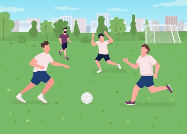 Flache farbabbildung des fußballspiels im freien. sportler spielen spiel. athleten auf dem feld mit tor. aktiver lebensstil. fußballmannschaft 2d-zeichentrickfiguren mit stadtpark auf hintergrund