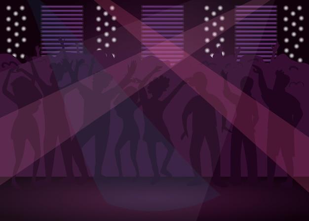 Flache farbabbildung des nachtclubs