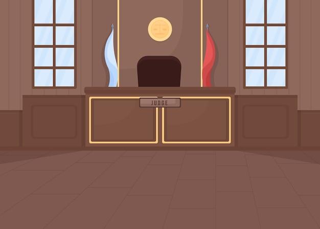 Flache farbabbildung des obersten gerichts. rechtsverfahren. strafrecht. gesetzgebungssystem. testprozess. leere 2d-karikatur des gerichtssaals mit richterstand auf hintergrund